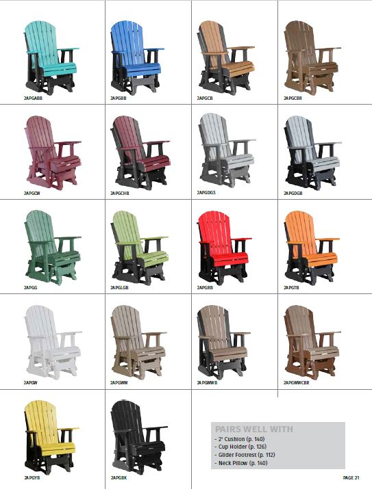 Krestview 2' Adirondack Glider Stock Color Chart
