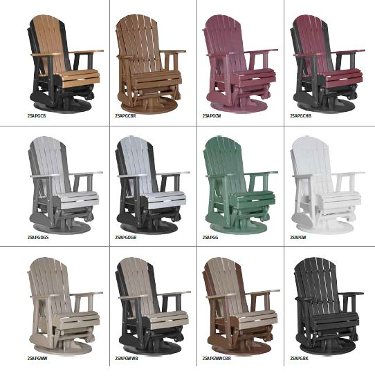 Krestview 2' Adirondack Swivel Glider Stock Color Chart