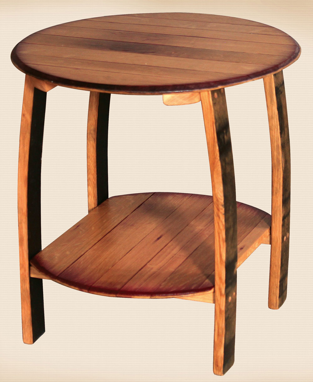 Rustic Whiskey Barrel Collection End Table