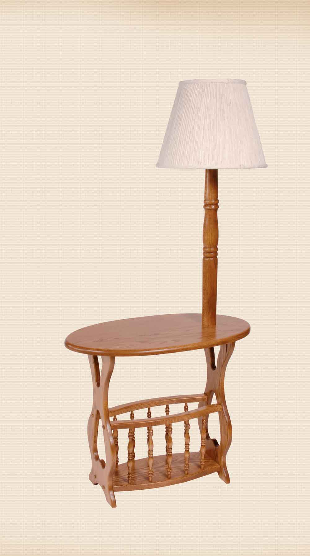 Oval Lamp Table with Magazine Rack