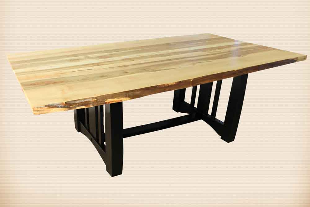 Live Edge Table with Boulder Creek Base