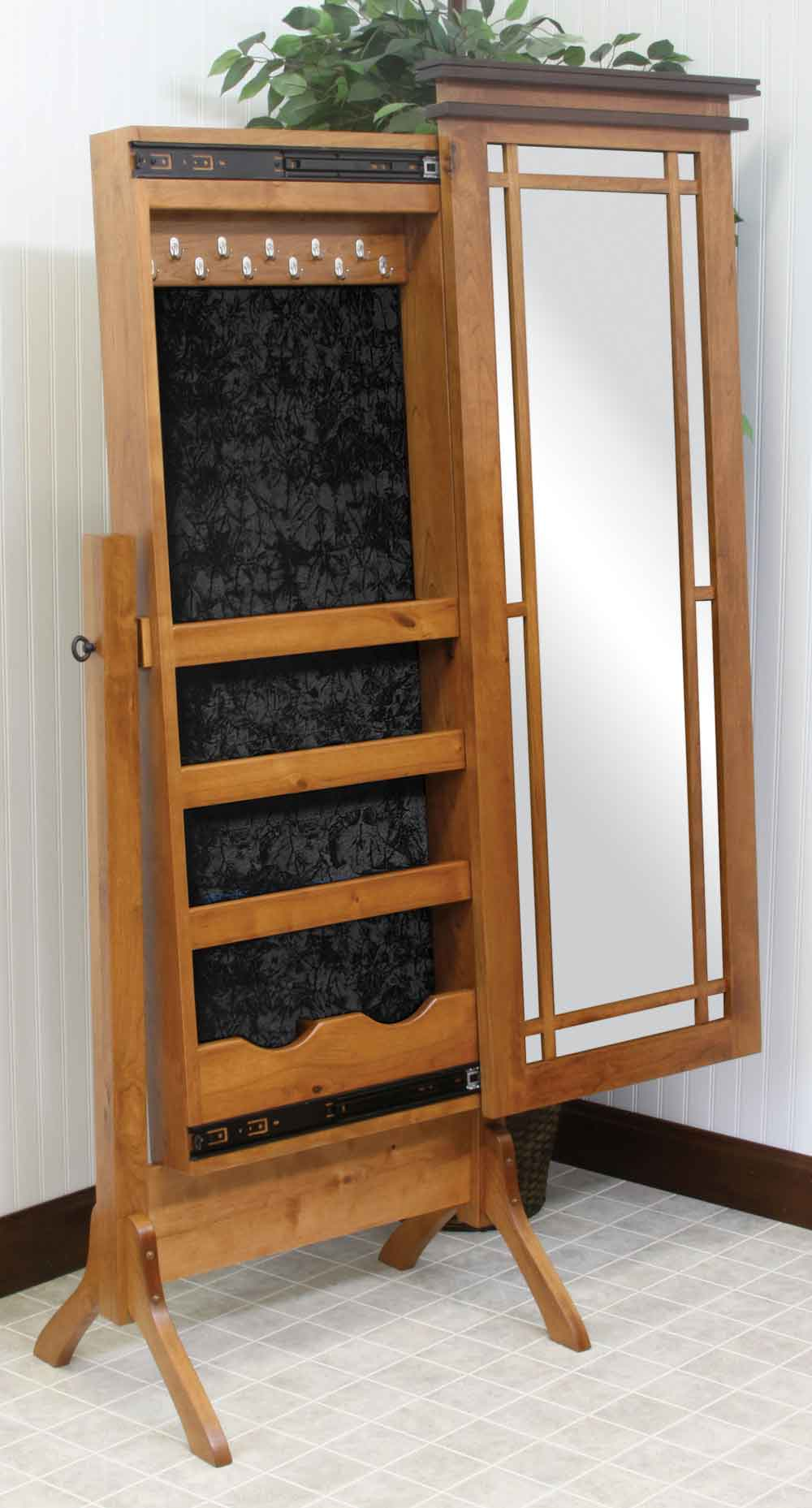 Maple Creek-2 Sliding Jewelry Storage Cheval Mirror