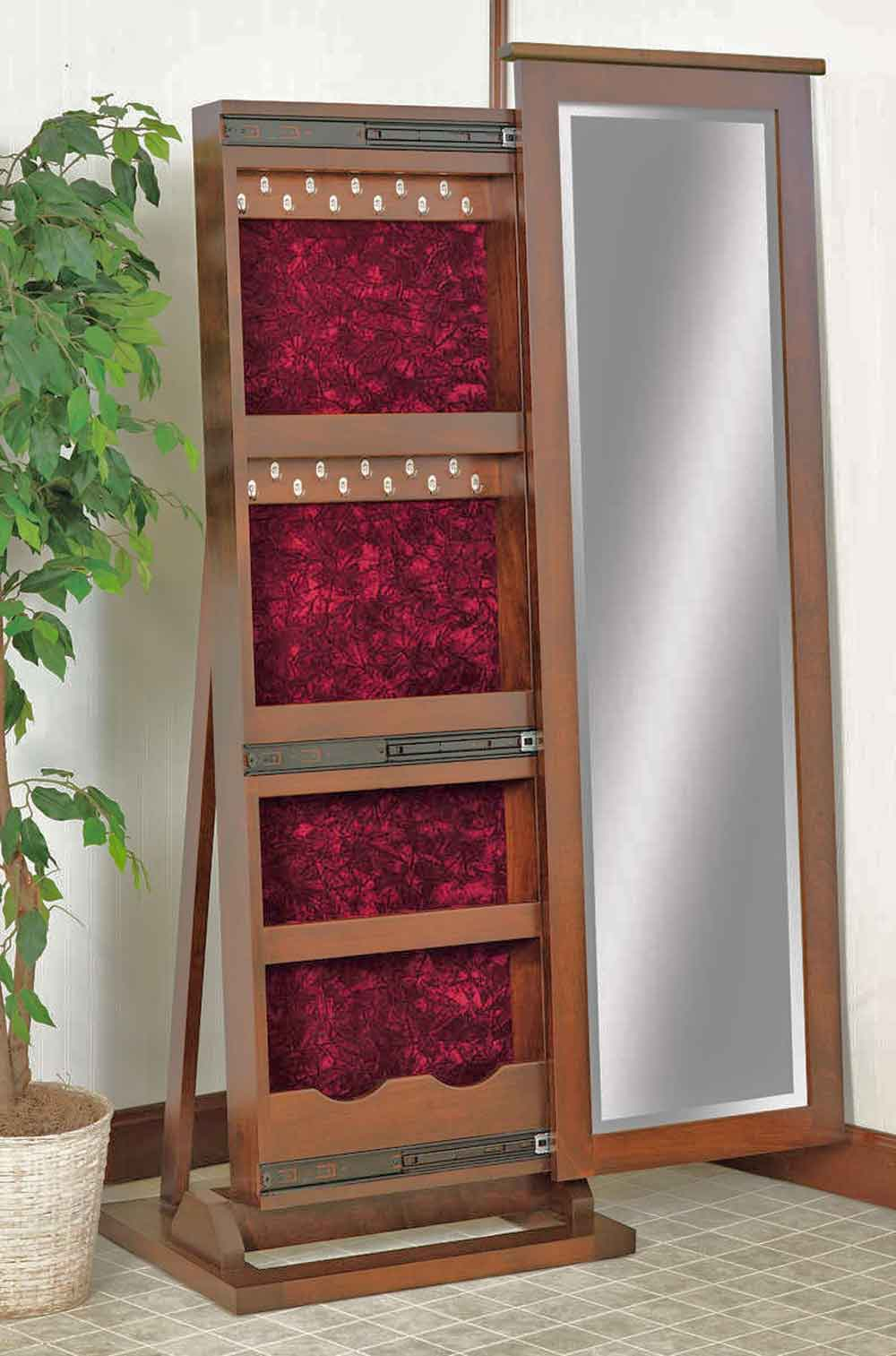 Traditional Shaker Sliding Jewelry Storage Leaner Mirror