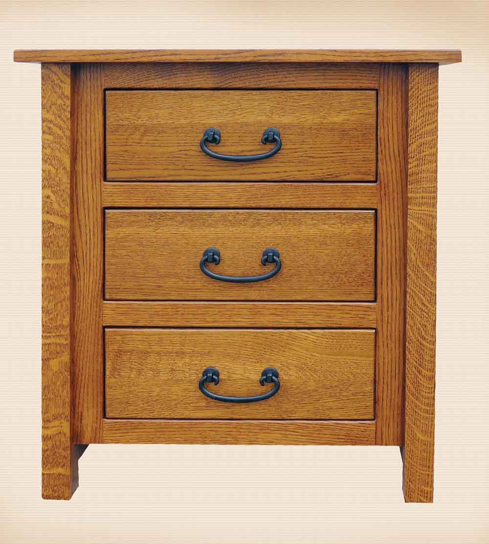 NP Mission 3 Drawer Nightstand