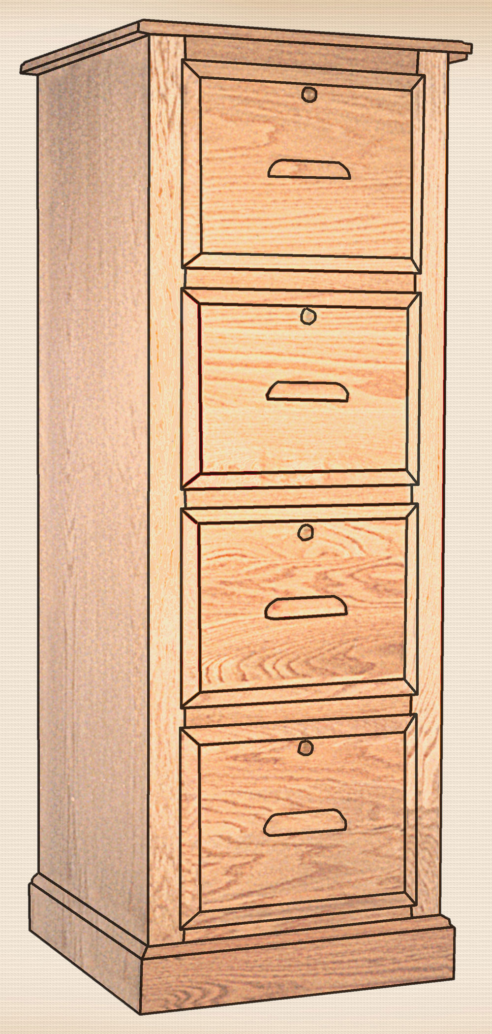 The Traditional Collection 4 Drawer Letter File