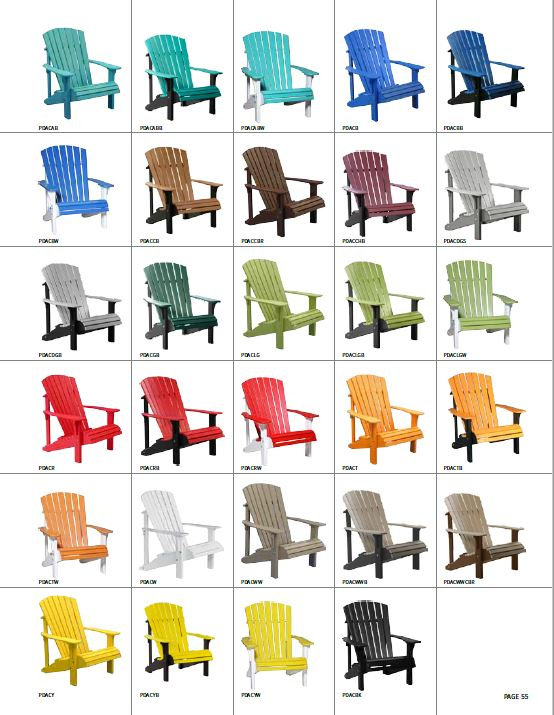 Krestview Deluxe Adirondack Chair Stock Color Chart