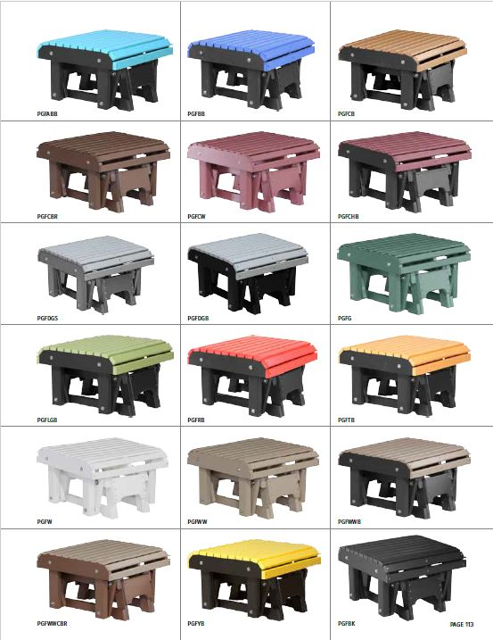 Krestview Glider Footrest Stock Color Chart