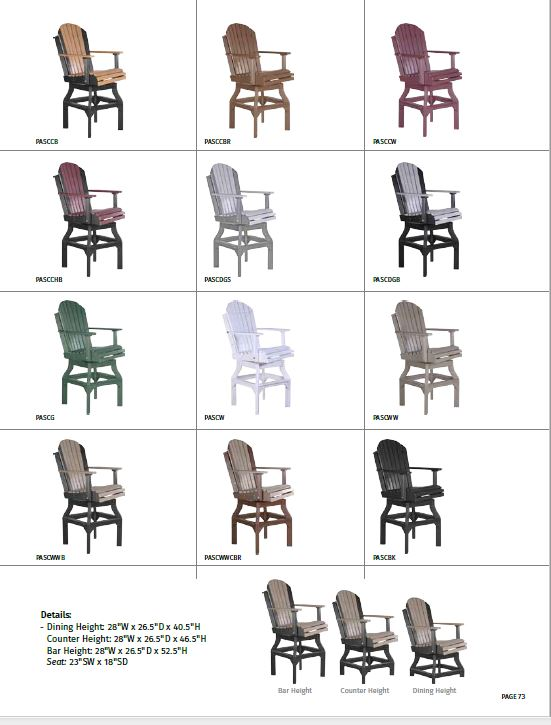 Krestview Adirondack Swivel Chair Stock Color Chart