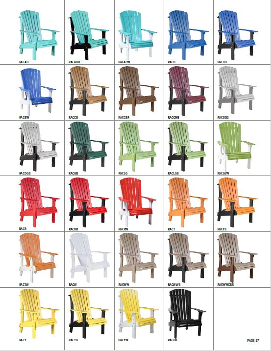 Krestview Royal Adirondack Chair Stock Color Chart